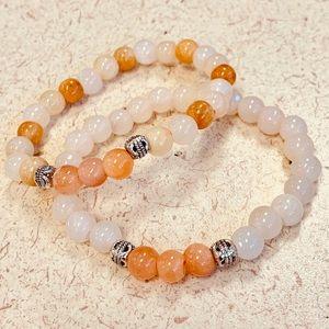 🔮White quartz natural stone w/Carnelian Bracelet